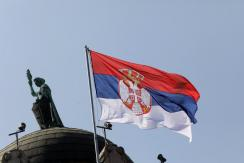 epa08670360 Serbian flags fly on the Serbian Government building in Belgrade, Serbia, 15 September 2020. Serbia and the Republika Srpska, one of the two entities of Bosnia and Herzegovina celebrate for the first time a common holiday the Serbian Unity, Fr