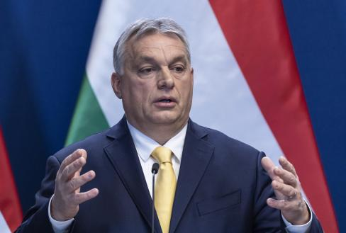 Orbán Viktor a csütörtöki budapesti sajtótájékoztatón (Fotó: MTI)